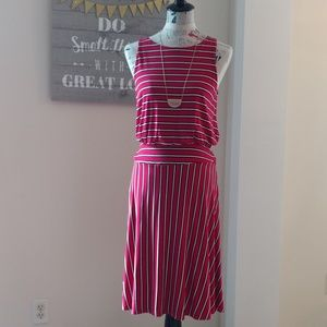 NWT LOFT red striped a-line dress